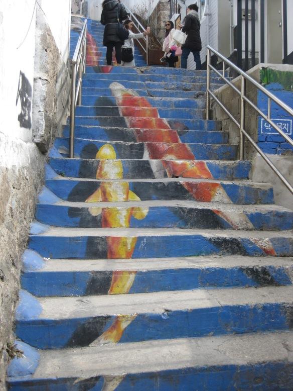 Treppengemälde im Ihwa Mural Village